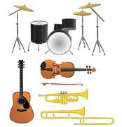 Musical instruments illustrations Stock Illustration