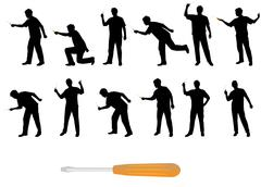 Man with screwdriver vector silhouettes - stock illustration