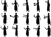 Stock Illustration of girl cooking silhouettes