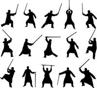 Kendo like silhouette with a sword Stock Illustration