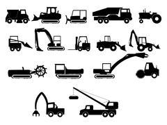 Heavy construction machines illustrations Stock Illustration