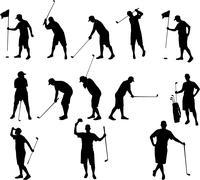 Golf silhouettes Stock Illustration