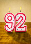 burning birthday candles number 92 - stock photo