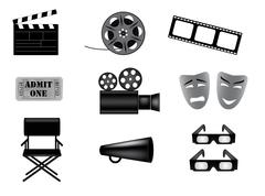 movie vector icons set - stock illustration