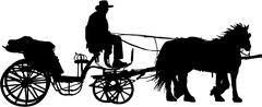 carriage silhouette - stock illustration