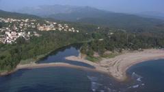 Aerial corsica la solenzara river Stock Footage