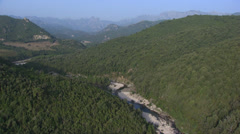 Aerial corsica river solenzara mountain Stock Footage