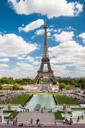 the eiffel tower and fountains of trocadero in paris france - stock photo