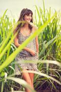 beautiful woman smiling, laughing, fashion lifestyle - stock photo
