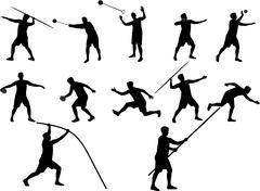 Athletics silhouettes Stock Illustration