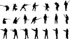 Armed men silhouettes Stock Illustration