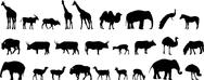 Stock Illustration of various animals silhouettes