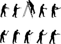man with tools silhouettes - stock illustration