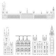 Big Ben and House of Parliament Westminster - stock illustration