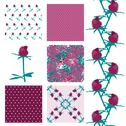 Stock Illustration of set of elegant seamless patterns with decorative violet roses, design elements