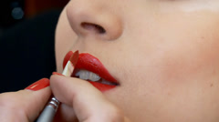 Makeup Girls. Lipstick being applied. Stock Footage