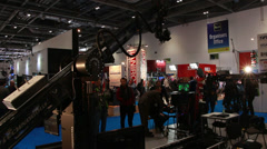 Huge dolly (Technodolly) at BVE show in London Stock Footage