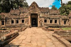 ancient buddhist khmer temple in angkor wat complex, siem reap cambodia - stock photo