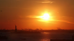Beautiful Sunset in New York Harbor Statue of Liberty Stock Video Stock Footage