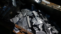 Scrap metal area in automobile factory Stock Footage