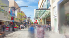 Hyperlapse video of travelling along a shopping street Stock Footage
