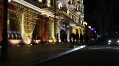 Facade of the Hotel Restaurant (New Year party). Stock Footage