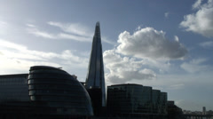 The Shard & City Hall from Tower Bridge 02 Stock Footage