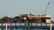 Stock Video Footage of London tour bus on Tower Bridge 01