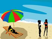 Stock Illustration of Ladies on the beach