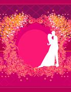 Wedding dancing couple background Stock Illustration