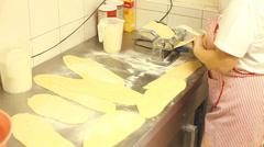 Making pasta with pasta machine Stock Footage
