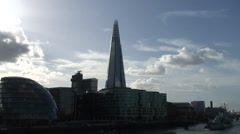 The Shard & City Hall from Tower Bridge 01 Stock Footage