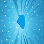 Blue map of Illinois - stock illustration