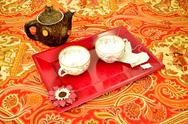 Stock Photo of teapot tea cups and tea bags
