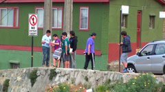 0480 Boys playing on the streets Stock Footage