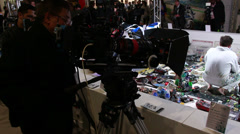 Testing Sony HD cam at BVE show, London 2014 Stock Footage