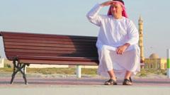 Muslim_Man,Muslim_Man_Rests_Contemplates Stock Footage