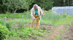 Woman with working clothes grub hoe weeds from the garden Stock Footage