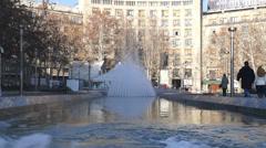 Fountain at Nikola Pasic square in Belgrade, Serbia Stock Footage