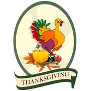 Thanksgiving day sticker Stock Illustration