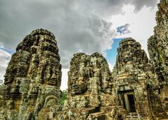 Bayon temple and angkor wat khmer complex in siem reap, cambodia Stock Photos