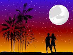 Pari romanttinen Piirros
