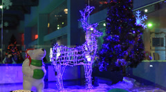 Christmas decorations in shopping center Stock Footage