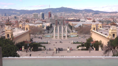 Barcelona view from national museum montjic Stock Footage