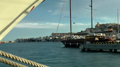 Europe Spain Balearic Ibiza towns and villages 076 harbor of eivissa city Stock Footage