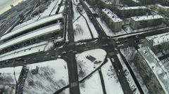 Transport traffic on crossroad at winter day Stock Footage