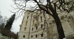 Wide angle shot of  the Hluboka Castle in the Czech Republic. Winter Snowfall Stock Footage