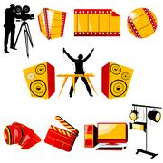video and music icons - stock illustration