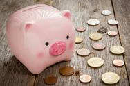 Stock Photo of pink piggy bank and coins