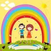Children and rainbow Stock Illustration